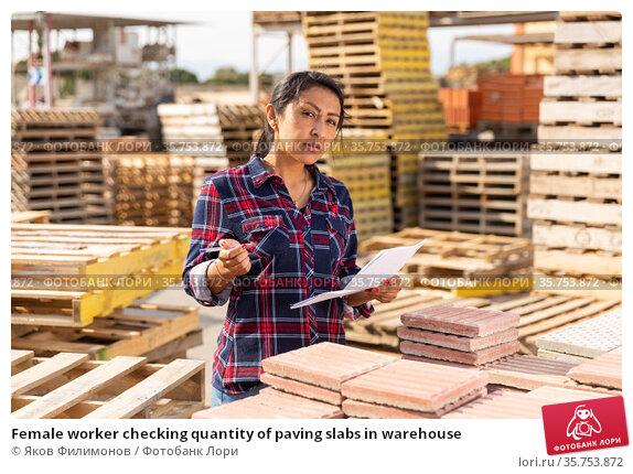 Female worker checking quantity of paving slabs in warehouse. Стоковое фото, фотограф Яков Филимонов / Фотобанк Лори