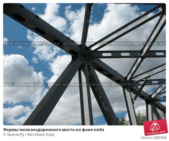 Фермы железнодорожного моста на фоне неба, фото № 283924, снято 13 мая 2008 г. (c) Заноза-Ру / Фотобанк Лори