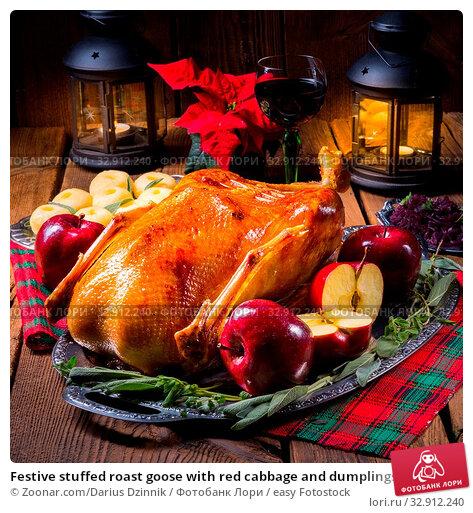 Festive stuffed roast goose with red cabbage and dumplings. Стоковое фото, фотограф Zoonar.com/Darius Dzinnik / easy Fotostock / Фотобанк Лори