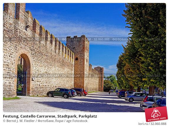Festung, Castello Carrarese, Stadtpark, Parkplatz. Стоковое фото, фотограф Bernd J. W. Fiedler / age Fotostock / Фотобанк Лори