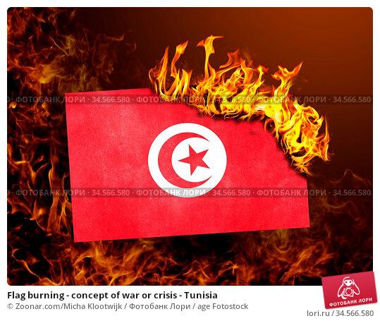 Flag burning - concept of war or crisis - Tunisia. Стоковое фото, фотограф Zoonar.com/Micha Klootwijk / age Fotostock / Фотобанк Лори