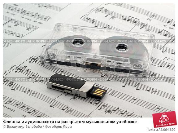Купить «Флешка и аудиокассета на раскрытом музыкальном учебнике», фото № 2064620, снято 19 октября 2010 г. (c) Владимир Белобаба / Фотобанк Лори