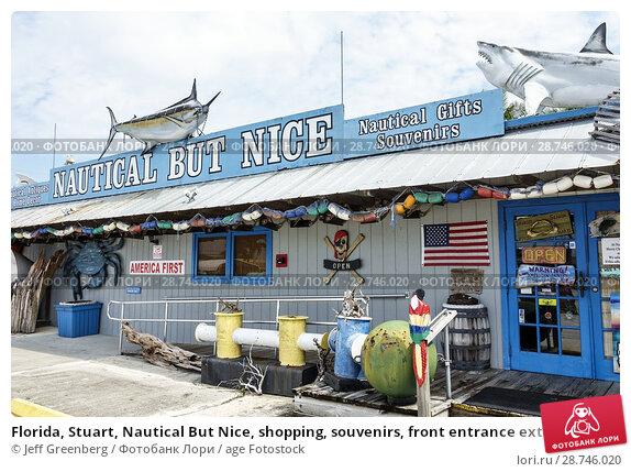 Купить «Florida, Stuart, Nautical But Nice, shopping, souvenirs, front entrance exterior, coastal decor, pro-Trump America First sign,», фото № 28746020, снято 27 сентября 2017 г. (c) age Fotostock / Фотобанк Лори