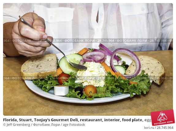 Купить «Florida, Stuart, TooJay's Gourmet Deli, restaurant, interior, food plate, egg salad, rye bread, lunch,», фото № 28745964, снято 27 сентября 2017 г. (c) age Fotostock / Фотобанк Лори