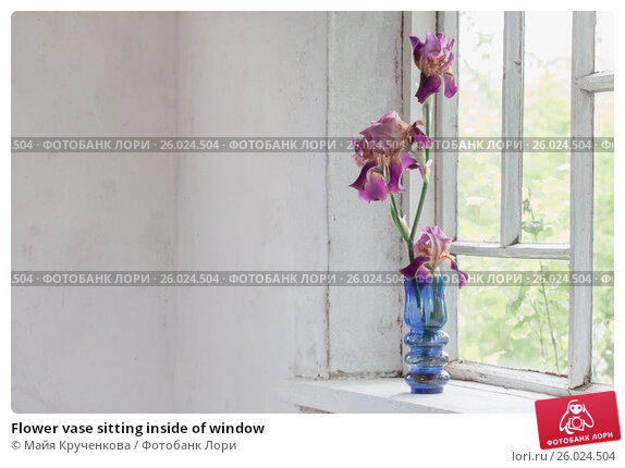 Flower vase sitting inside of window, фото № 26024504, снято 6 июня 2016 г. (c) Майя Крученкова / Фотобанк Лори