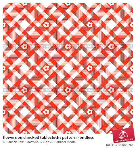 Купить «flowers on checked tablecloths pattern - endless», фото № 33086764, снято 18 февраля 2020 г. (c) PantherMedia / Фотобанк Лори