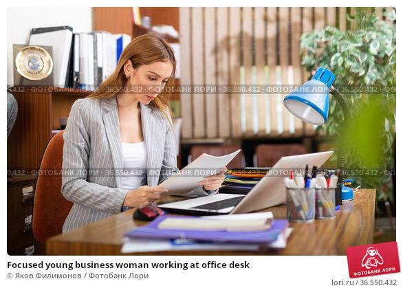 Focused young business woman working at office desk. Стоковое фото, фотограф Яков Филимонов / Фотобанк Лори
