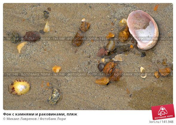 Купить «Фон с камнями и раковинами, пляж», фото № 141948, снято 25 апреля 2018 г. (c) Михаил Лавренов / Фотобанк Лори