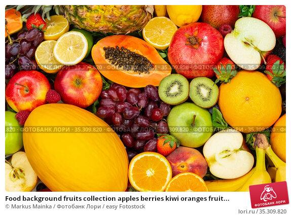 Food background fruits collection apples berries kiwi oranges fruit... Стоковое фото, фотограф Markus Mainka / easy Fotostock / Фотобанк Лори