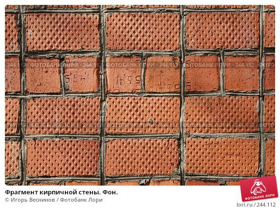 Фрагмент кирпичной стены. Фон., фото № 244112, снято 6 апреля 2008 г. (c) Игорь Веснинов / Фотобанк Лори
