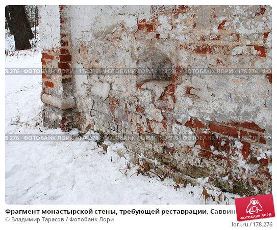 Фрагмент монастырской стены, требующей реставрации. Саввино-Сторожевский монастырь, фото № 178276, снято 21 ноября 2007 г. (c) Владимир Тарасов / Фотобанк Лори