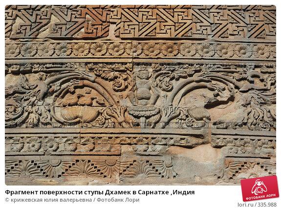 Фрагмент поверхности ступы Дхамек в Сарнатхе ,Индия, фото № 335988, снято 18 декабря 2007 г. (c) крижевская юлия валерьевна / Фотобанк Лори