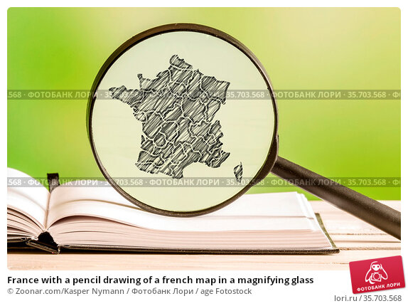 France with a pencil drawing of a french map in a magnifying glass. Стоковое фото, фотограф Zoonar.com/Kasper Nymann / age Fotostock / Фотобанк Лори