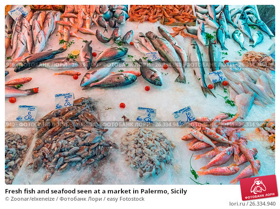 Fresh fish and seafood seen at a market in Palermo, Sicily, фото № 26334940, снято 23 июля 2017 г. (c) easy Fotostock / Фотобанк Лори