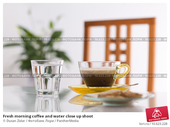 Fresh morning coffee and water close up shoot. Стоковое фото, фотограф Dusan Zidar / PantherMedia / Фотобанк Лори