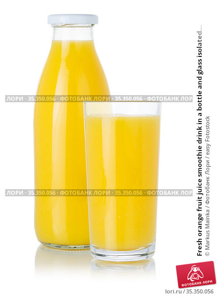Fresh orange fruit juice smoothie drink in a bottle and glass isolated... Стоковое фото, фотограф Markus Mainka / easy Fotostock / Фотобанк Лори