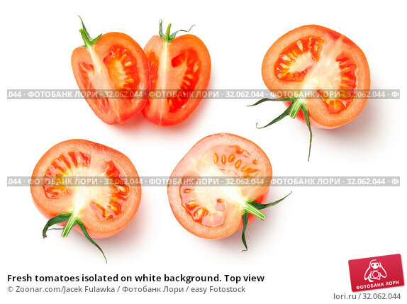 Fresh tomatoes isolated on white background. Top view. Стоковое фото, фотограф Zoonar.com/Jacek Fulawka / easy Fotostock / Фотобанк Лори