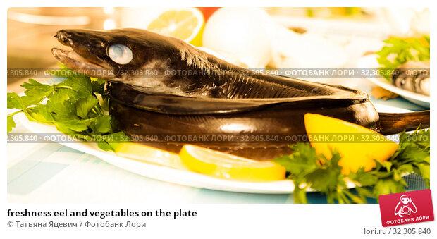 Купить «freshness eel and vegetables on the plate», фото № 32305840, снято 4 апреля 2020 г. (c) Татьяна Яцевич / Фотобанк Лори