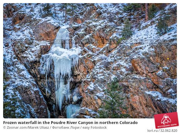Frozen waterfall in the Poudre River Canyon in northern Colorado. Стоковое фото, фотограф Zoonar.com/Marek Uliasz / easy Fotostock / Фотобанк Лори