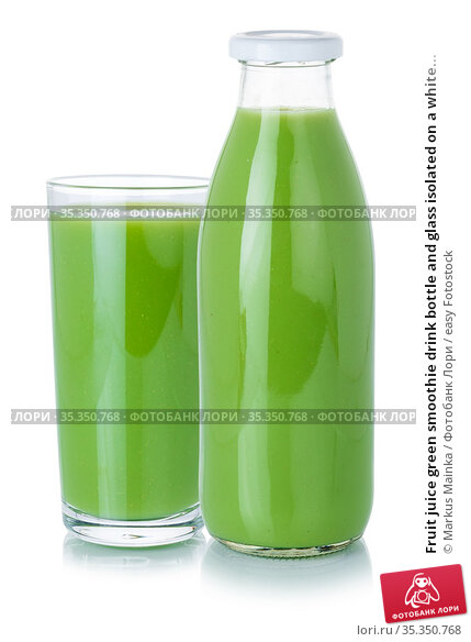 Fruit juice green smoothie drink bottle and glass isolated on a white... Стоковое фото, фотограф Markus Mainka / easy Fotostock / Фотобанк Лори