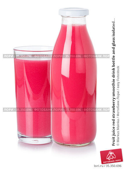 Fruit juice red strawberry smoothie drink bottle and glass isolated... Стоковое фото, фотограф Markus Mainka / easy Fotostock / Фотобанк Лори