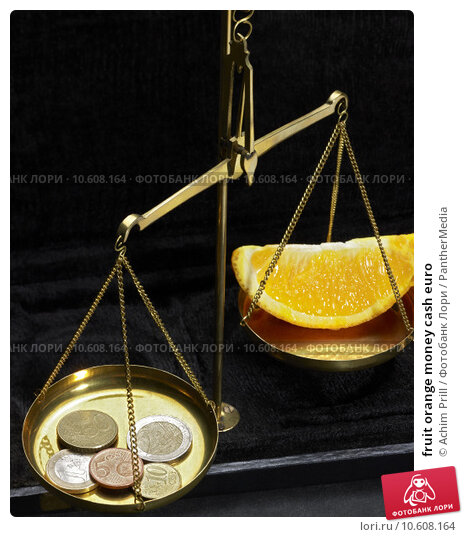 fruit orange money cash euro. Стоковое фото, фотограф Achim Prill / PantherMedia / Фотобанк Лори