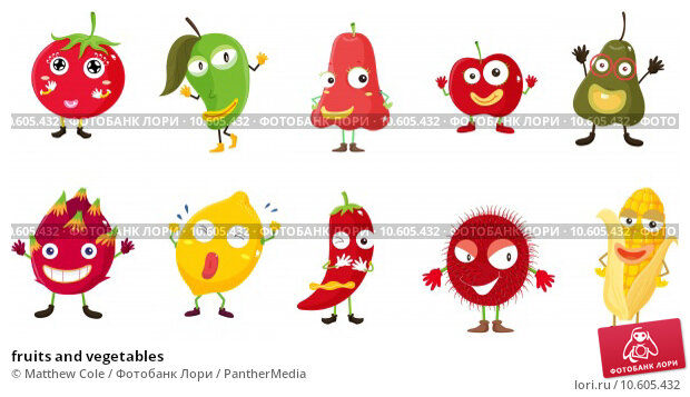 fruits and vegetables . Стоковая иллюстрация, иллюстратор Matthew Cole / PantherMedia / Фотобанк Лори