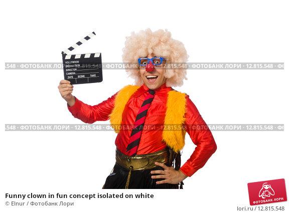 Купить «Funny clown in fun concept isolated on white», фото № 12815548, снято 13 июля 2015 г. (c) Elnur / Фотобанк Лори