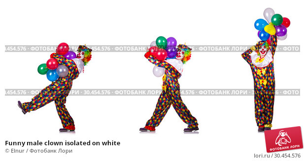 Funny male clown isolated on white. Стоковое фото, фотограф Elnur / Фотобанк Лори