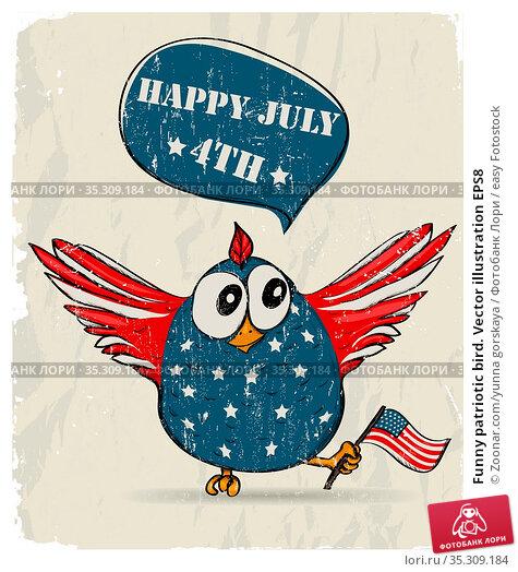 Funny patriotic bird. Vector illustration EPS8. Стоковое фото, фотограф Zoonar.com/yunna gorskaya / easy Fotostock / Фотобанк Лори