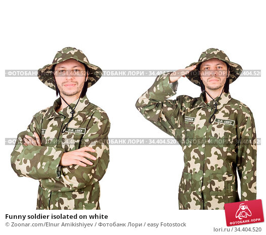 Funny soldier isolated on white. Стоковое фото, фотограф Zoonar.com/Elnur Amikishiyev / easy Fotostock / Фотобанк Лори