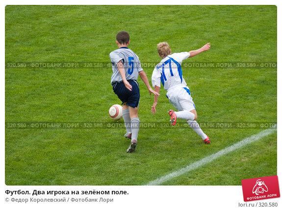 Футбол. Два игрока на зелёном поле., фото № 320580, снято 12 июня 2008 г. (c) Федор Королевский / Фотобанк Лори