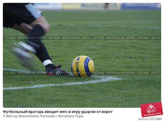 Футбольный вратарь вводит мяч в игру ударом от ворот, фото № 227840, снято 10 сентября 2005 г. (c) Виктор Филиппович Погонцев / Фотобанк Лори
