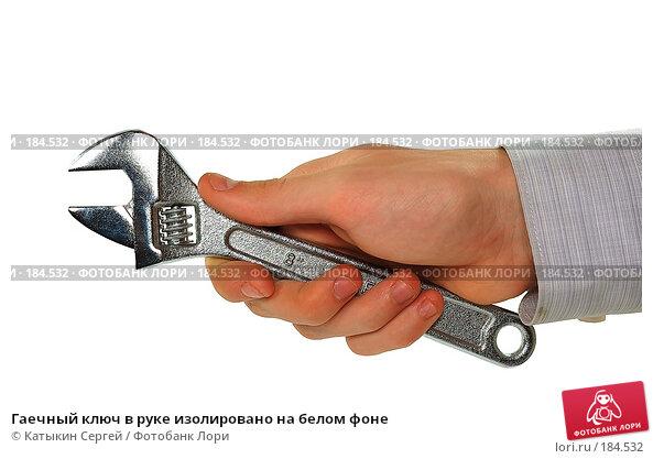 Гаечный ключ в руке изолировано на белом фоне, фото № 184532, снято 16 декабря 2007 г. (c) Катыкин Сергей / Фотобанк Лори