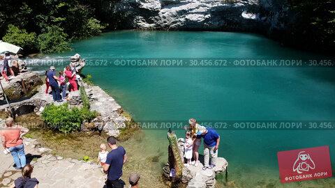 Gagra, Abkhazia - June 3. 2018. Beautiful blue lake in Abkhazia. The Landmark (2019 год). Редакционное видео, видеограф Володина Ольга / Фотобанк Лори