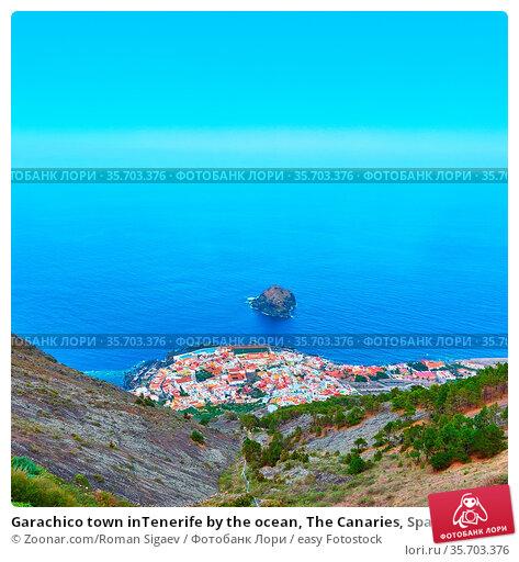 Garachico town inTenerife by the ocean, The Canaries, Spain. Landscape. Стоковое фото, фотограф Zoonar.com/Roman Sigaev / easy Fotostock / Фотобанк Лори