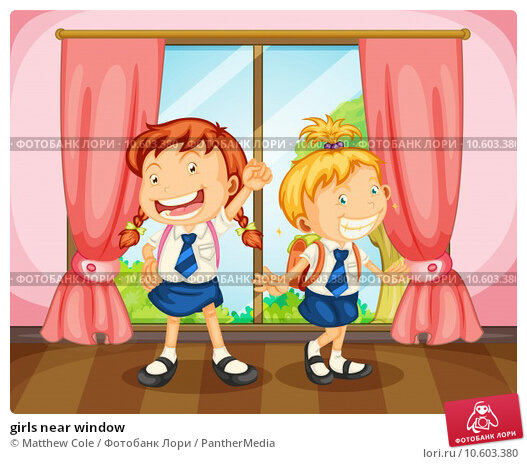 girls near window. Стоковая иллюстрация, иллюстратор Matthew Cole / PantherMedia / Фотобанк Лори