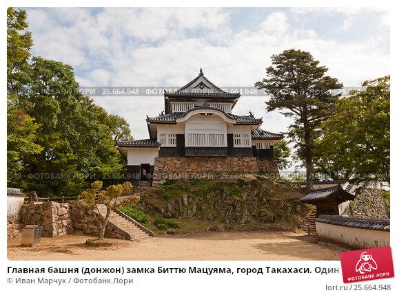 Купить «Главная башня (донжон) замка Биттю Мацуяма, город Такахаси. Один из 12 сохранившихся замков в Японии», фото № 25664948, снято 20 июля 2016 г. (c) Иван Марчук / Фотобанк Лори