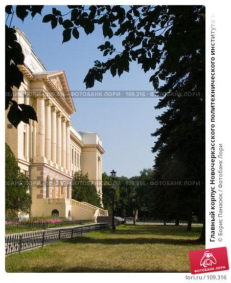 Главный корпус Новочеркасского политехнического института в обрамлении темных листьев, фото № 109316, снято 28 июля 2006 г. (c) Борис Панасюк / Фотобанк Лори