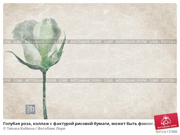 Купить «Голубая роза, коллаж с фактурой рисовой бумаги, может быть фоном для слайдов», иллюстрация № 3560 (c) Tamara Kulikova / Фотобанк Лори