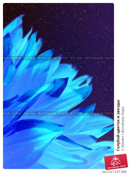 Голубой цветок и звезды, фото № 317368, снято 24 января 2017 г. (c) ElenArt / Фотобанк Лори