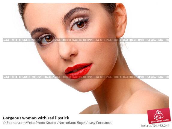 Gorgeous woman with red lipstick. Стоковое фото, фотограф Zoonar.com/Yeko Photo Studio / easy Fotostock / Фотобанк Лори