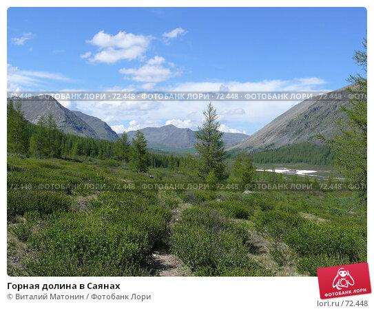 Горная долина в Саянах, фото № 72448, снято 22 июня 2007 г. (c) Виталий Матонин / Фотобанк Лори