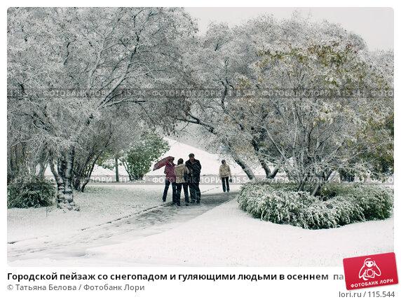 Городской пейзаж со снегопадом и гуляющими людьми в осеннем  парке, фото № 115544, снято 14 октября 2007 г. (c) Татьяна Белова / Фотобанк Лори