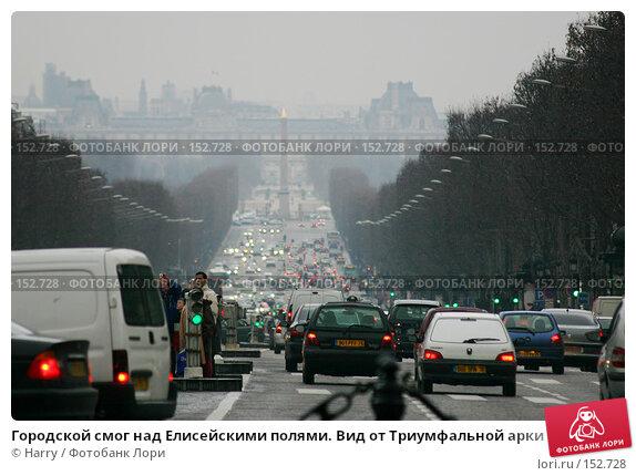 Купить «Городской смог над Елисейскими полями. Вид от Триумфальной арки к Лувру», фото № 152728, снято 21 февраля 2006 г. (c) Harry / Фотобанк Лори