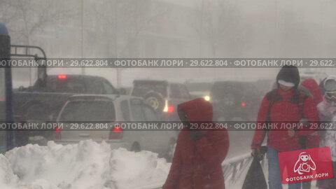 Купить «Горожане идут по тротуару во время снежной бури», видеоролик № 29622804, снято 28 декабря 2018 г. (c) А. А. Пирагис / Фотобанк Лори