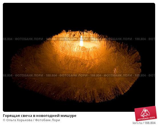 Горящая свеча в новогодней мишуре, фото № 188804, снято 20 декабря 2007 г. (c) Ольга Хорькова / Фотобанк Лори