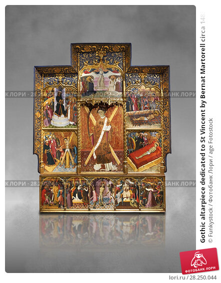Купить «Gothic altarpiece dedicated to St Vincent by Bernat Martorell circa 1483-1440 in Barcelona, tempera and gold lef on wood from the Parish church of St Vincent...», фото № 28250044, снято 1 февраля 2017 г. (c) age Fotostock / Фотобанк Лори