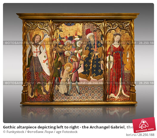 Купить «Gothic altarpiece depicting left to right - the Archangel Gabriel, the martyrdom of Santa Eulalia and St Caterina, by Bernat Martorell, circa 1442-1445...», фото № 28250188, снято 1 февраля 2017 г. (c) age Fotostock / Фотобанк Лори
