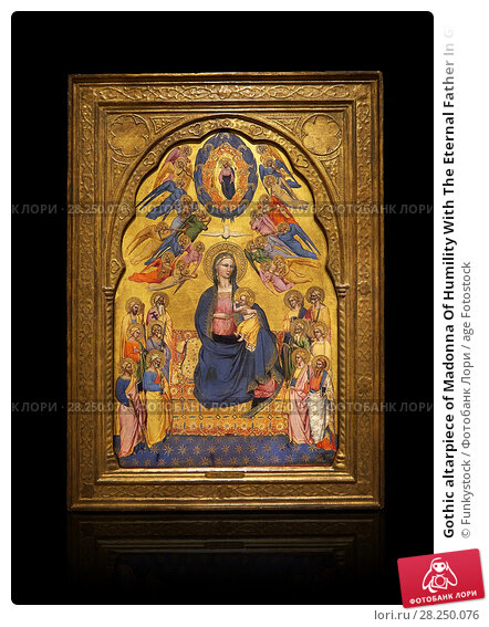 Купить «Gothic altarpiece of Madonna Of Humility With The Eternal Father In Glory, by Cenni di Francesco di Ser Cenni of Florence, circa 1375-80, tempera and gold...», фото № 28250076, снято 1 февраля 2017 г. (c) age Fotostock / Фотобанк Лори